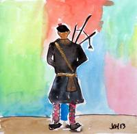 Bagpiper in Watercolors