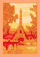 Amber Abstract Decorative Eiffel Tower Seine River
