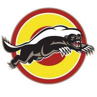 Honey Badger Mascot Leaping Circle