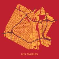 Los Angeles - Gold on Red with Title