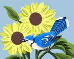 Blue Jay With Sunflowers by Pixel Paint Studio