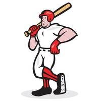 Baseball Hitter Bat Shoulder Cartoon