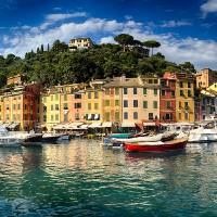 """""""Low Angle Panoramic View of Portofino Harbor"""" by George_Oze"""
