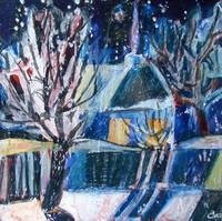 Winter landscape with a luminous window