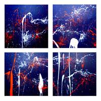 4 Canvases hit by Paint Temperementally Thrown