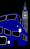 Blue London Bus and Big Ben