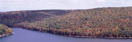 Forested hills surround Deep Creek Lake Garrett Co