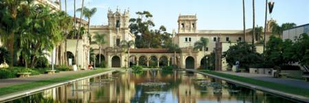 Reflecting pool in front of a building Balboa Park