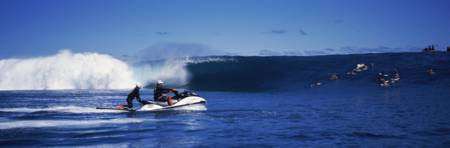 Speedboats moving in the sea Tahiti French Polynes