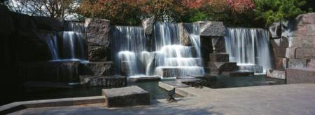 Waterfall at a memorial Franklin Delano Roosevelt