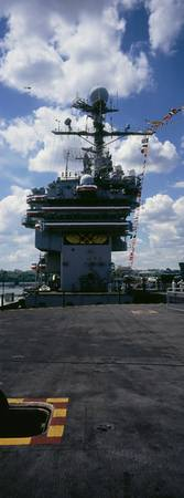 Low angle view of an aircraft carrier