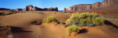 Wide angle view of Monument Valley Tribal Park