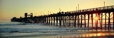Pier in the ocean at sunset Oceanside San Diego C
