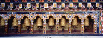 Prayer wheels in a temple