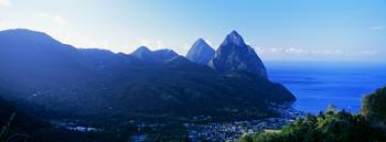 The Pitons and Soufriere St Lucia Windward Island