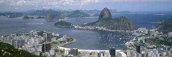 Aerial view of a city Sugarloaf Mountain Rio De J