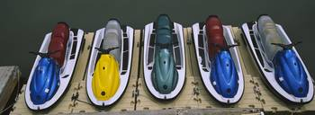 High angle view of jet skis at a dock