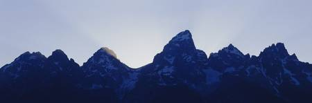 Mountain peaks at dusk