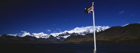 Flag flying at the King Edward Point Research Sta