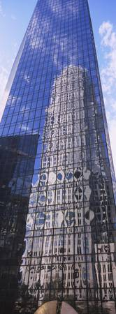 Low angle view of reflection of a building on an