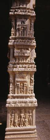 Sculptures carved on a column
