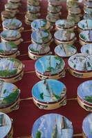 Close-up of rows of tambourines