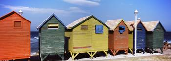 Colorful huts on the beach St. James Beach Cape T