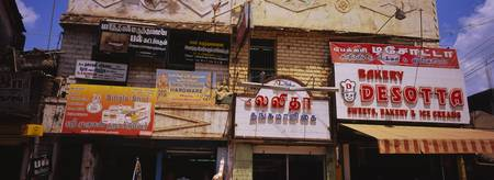Commercial signboards in a market
