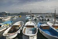 Boats moored at a port