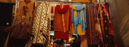 Low angle view of sari hanging in a store