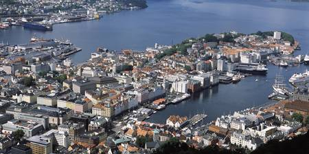 Aerial view of a city Bergen Hordaland County Nor