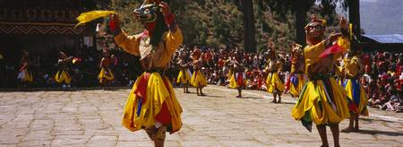 Dancers performing in a traditional Paro Tsechu f