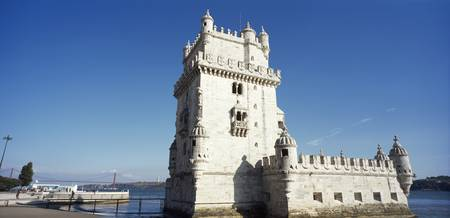 Tower at the riverbank Belem Tower Lisbon Portuga