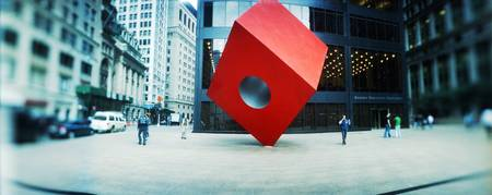 Monument in a city Noguchi Cube Helmsley Plaza Ne