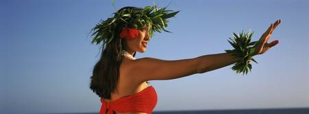 Side profile of a Hula dancer dancing