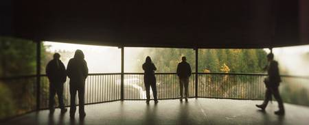 Tourists at an Observation Point Snoqualmie Falls