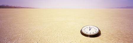Clock in a desert