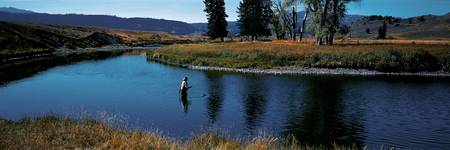 Trout fisherman Slough Creek Yellowstone National