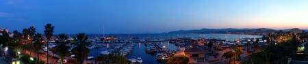 High angle view of a port at dusk Le Lavandou Var