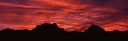 Sunset silhouette mountain range NV