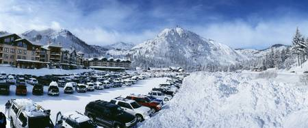 Snow covered cars in a parking lot Squaw Valley S