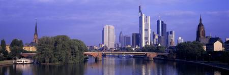 Skyline Main River Frankfurt Germany
