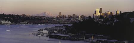 City skyline at the lakeside with Mt Rainier in t