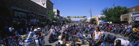 Racers preparing for motorcycle rally