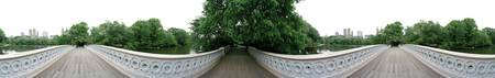 360 degree view of a footbridge in an urban park