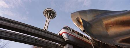Low angle view of the monorail and Space Needle