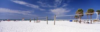 Volleyball nets on the beach
