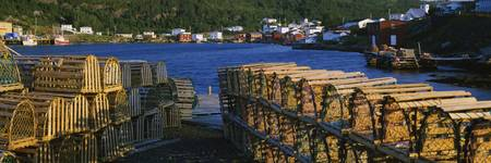 Stack of lobster traps on the coast