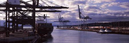 Container ship at a commercial dock Tacoma Pierce