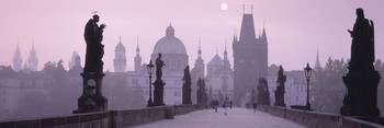 Charles Bridge and Spires of Old Town Prague Czec